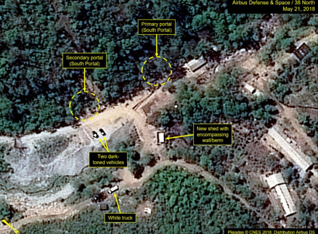Recent commercial satellite imagery indicates additional preparations for the announced closure of North Korea's Punggye-ri Nuclear Test Site. A small white shelter may have been erected over the West Portal tunnel entrance , according to 38 North. (Yonhap)