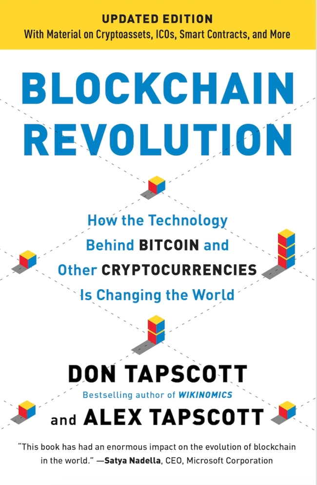 """A paperback cover image of the updated edition of """"Blockchain Revolution"""" (courtesy of the Blockchain Research Institute)"""