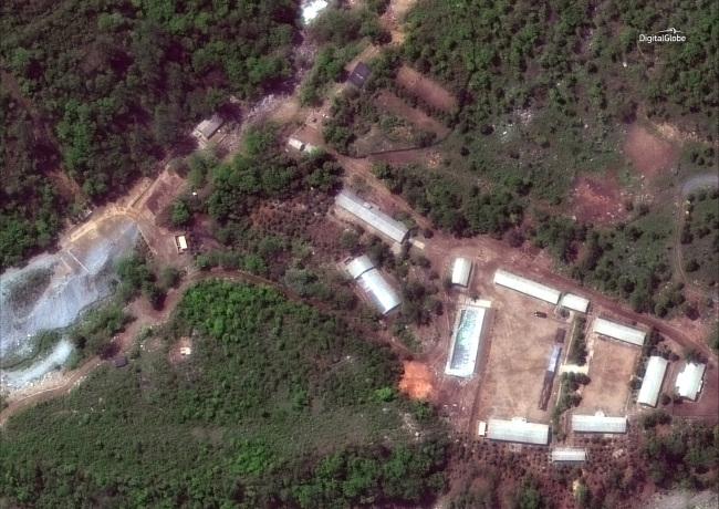 This satellite image shows the Punggye-ri test site in North Korea. (AP-Yonhap)