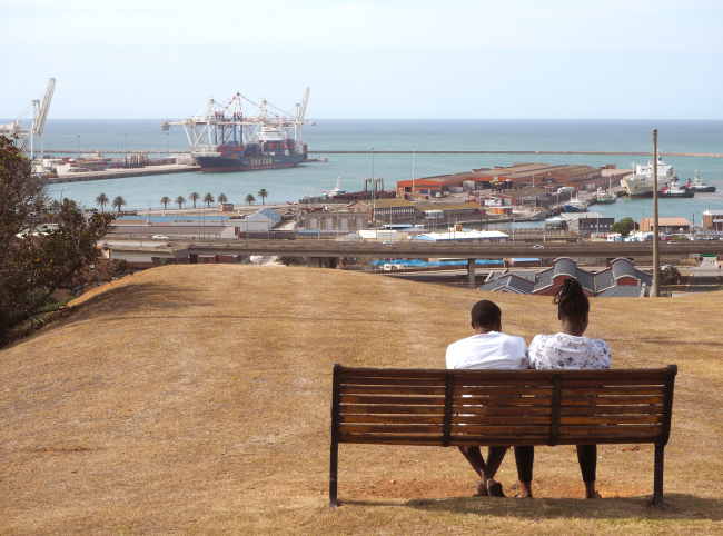 A couple takes in the view overlooking the port of Port Elizabeth, South Africa. (Joel Lee/The Korea Herald)