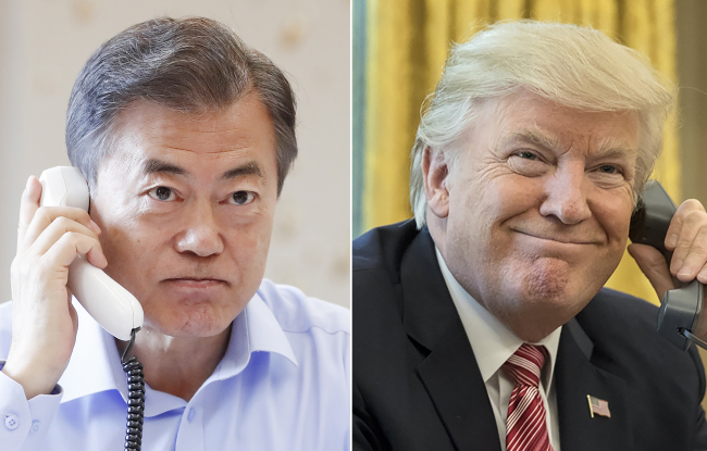 South Korea`s president Moon Jae-in and his US counterpart Donald Trump. Yonhap