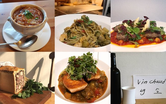 (Clockwise) French onion soup; salmon ratatouille pasta; meatballs with tomato sauce, artichoke and chickpea; pate en croute; salmon ratatouille; vin chaud (Bistro d'Aout)