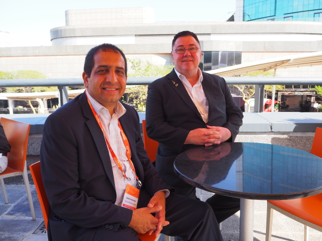 South African Tourism President for Asia-Pacific inbound, Bradley Brouwer (right), and President for Asia-Pacific outbound, Mansoor Mohamed, speak to The Korea Herald at the 2018 African Travel Indaba at Durban International Convention Center. (Joel Lee/The Korea Herald)