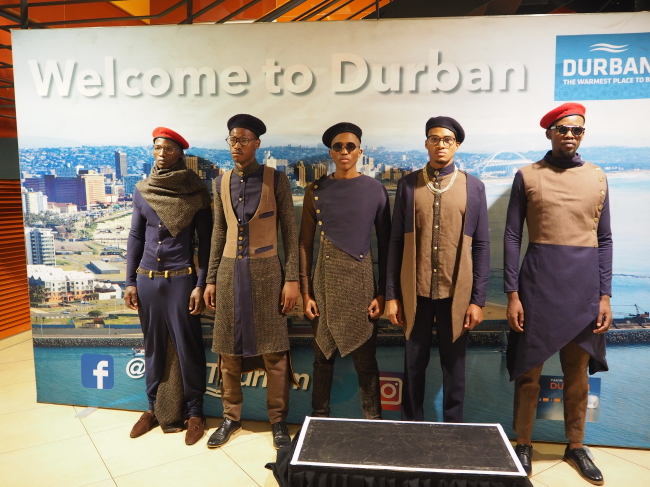 Models pose at the welcome event for Indaba delegates at the Moses Mabhida Stadium on May 7. (Joel Lee/The Korea Herald)