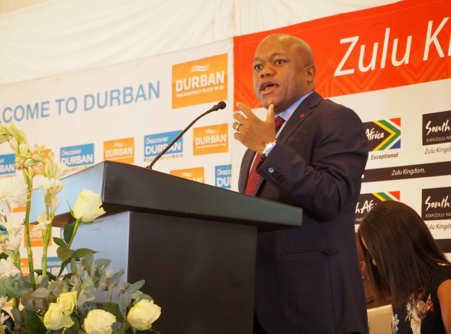 KwaZulu-Natal Provincial Minister for Economic Development, Tourism and Environmental Affairs, Sihle Zikalala, speaks in front of participants at the breakfast meeting for Indaba delegates at Hilton Hotel in Durban on May 8. (Joel Lee/The Korea Herald)