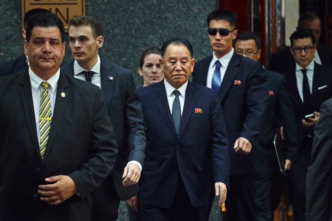 North Korea`s Kim Yong Chol, center, leaves a hotel in New York, Wednesday, May 30. (Yonhap)