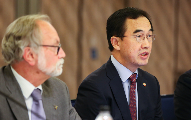 This photo taken on May 30, 2018, shows Unification Minister Cho Myoung-gyon speaking during a meeting with EU diplomats in Seoul. (Yonhap)