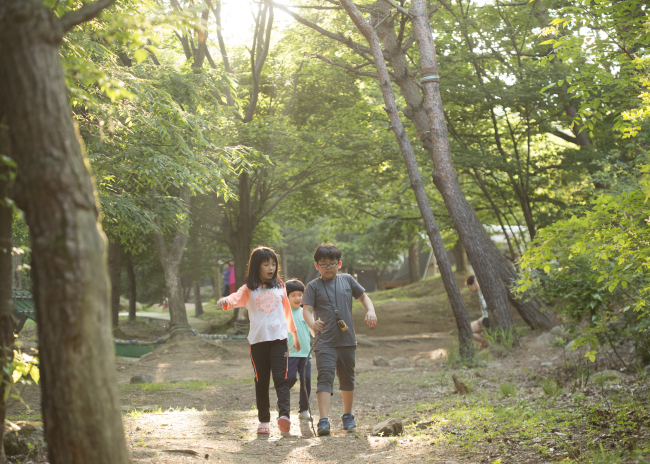 Children walk around the forest within the Kolon campground. Photo: Kolon Sport