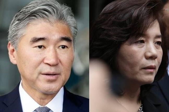 This combined file photo shows Sung Kim (L), US ambassador to the Philippines, and North Korea`s Vice Foreign Minister Choe Son-hui. (Yonhap)