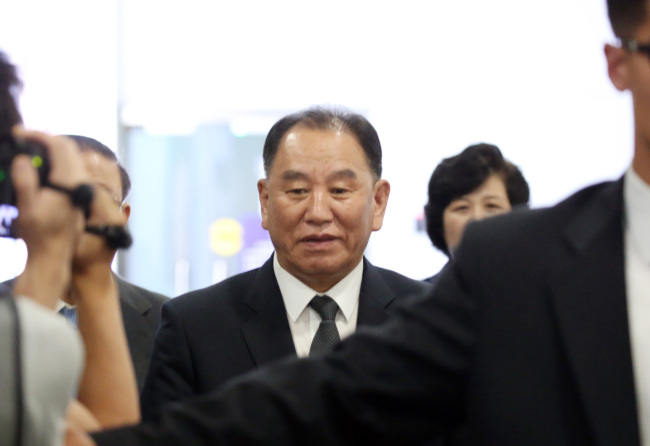 Kim Yong-chol, a vice chairman of the North`s ruling Workers` Party`s central committee, arrives at a Beijing airport to depart for Pyongyang on June 4, 2018. (Yonhap)