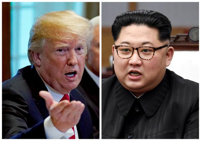 US President Donald Trump (left) and North Korean leader Kim Jong-un (Reuters, Korea Summit Press Pool) (Yonhap)
