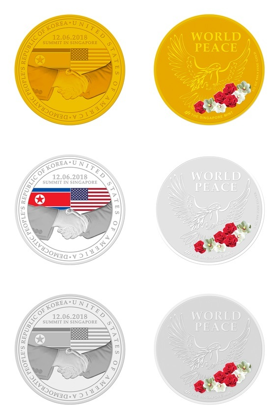 Gold, silver and nickel-plated commemorative medallions minted by The Singapore Mint, for the summit between US' President Donald Trump and North Korean leader Kim Jong-un slated for June 12. (The Singapore Mint)