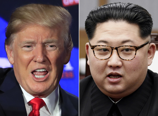 US President Donald Trump (left) and North Korean leader Kim Jong-un (right)
