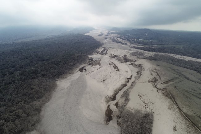 This aerial view shows the disaster zone near the Volcan de Fuego, or