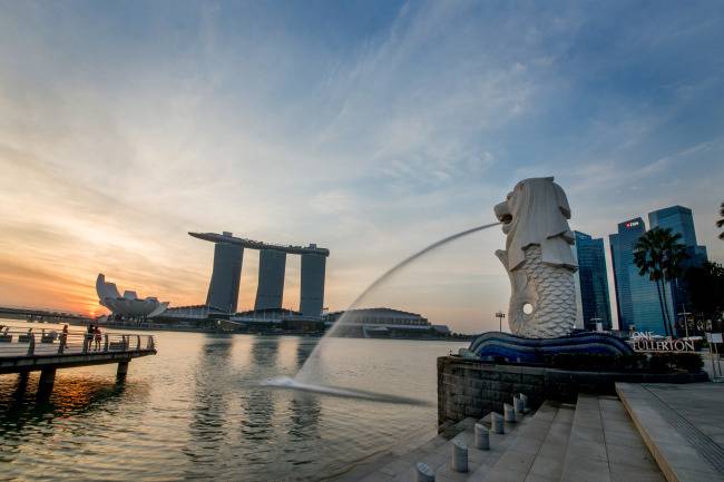 The waterfront Merlion Park is located opposite the Marina Bay Sands hotel in Singapore. (Singapore Tourism Board)