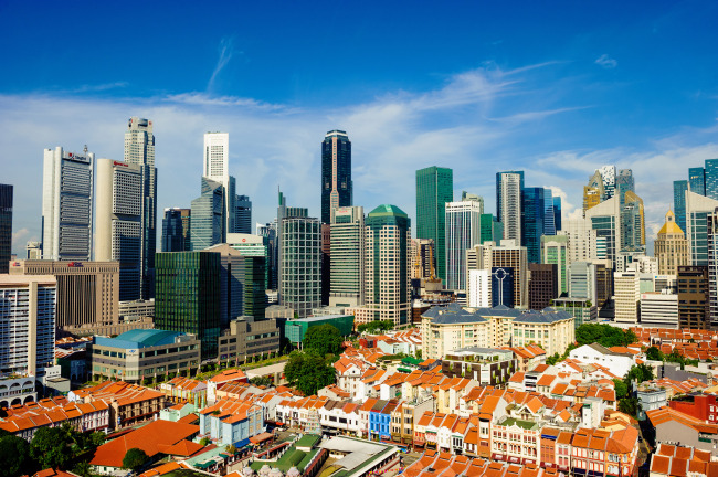 An aerial view of buildings in Singapore's Chinatown with skyscrapers in the background (Singapore Tourism board)