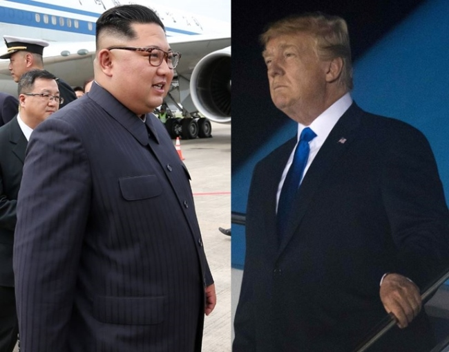Two separate photos from the Singaporean government and AFP show North Korean leader Kim Jong-un (L) and U.S. President Trump arriving in Singapore on June 10, ahead of their historic summit. (Yonhap)