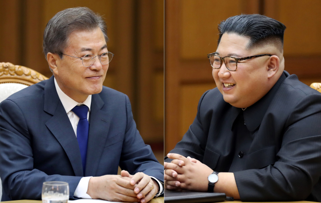 South Korean President Moon Jae-in and North Korean leader Kim Jong-un (Yonhap)