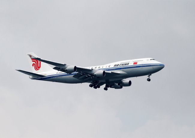 The Air China Boeing 747 Kim Jong-un rode in to Singapore. (Reuters-Yonhap)