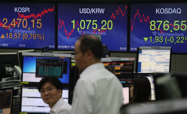 Dealers at the KEB Hana Bank central headquarters dealing room watch the electronic display board on Monday after stock market closing. The benchmark stock index Kospi closed at 2,470.15, up 18.57 points or 0.87 percent from the previous session, amid rising anticipations for the US-North Korea summit on the following day. (Yonhap)