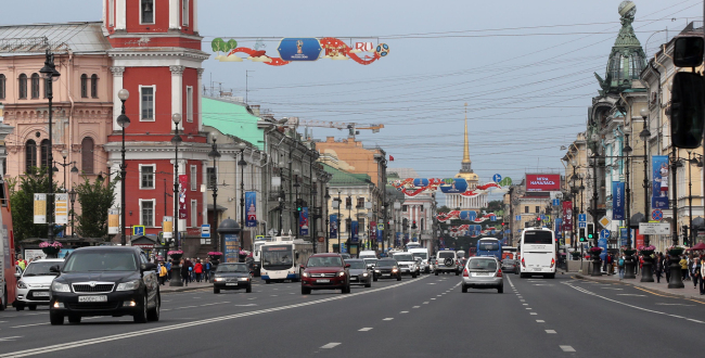 This photo shows 2018 FIFA World Cup banners hanging over a street in Saint Petersburg, Russia, on Monday. (Yonhap)