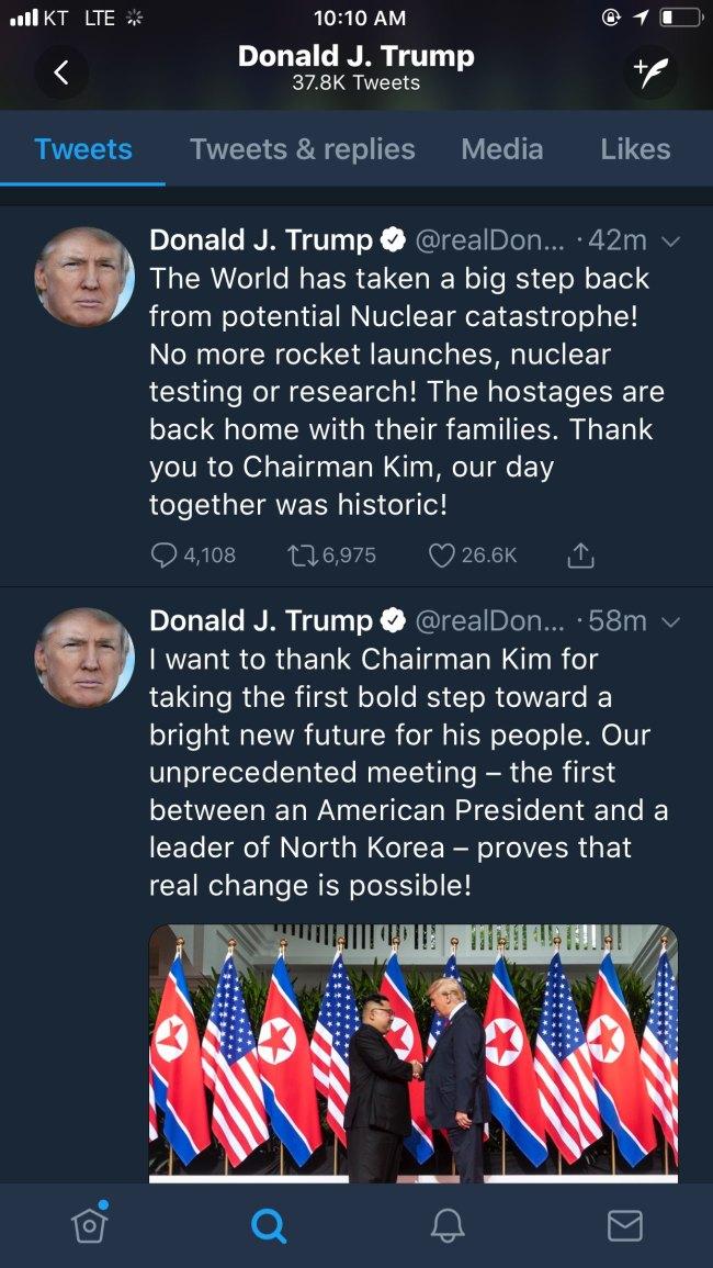 (US President Donald Trump's Twitter)