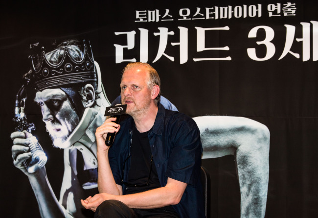 Thomas Ostermeier, the artistic director at Schaubuhne Berlin, speaks during a press conference held Thursday at LG Arts Center in Seoul. (LG Arts Center)