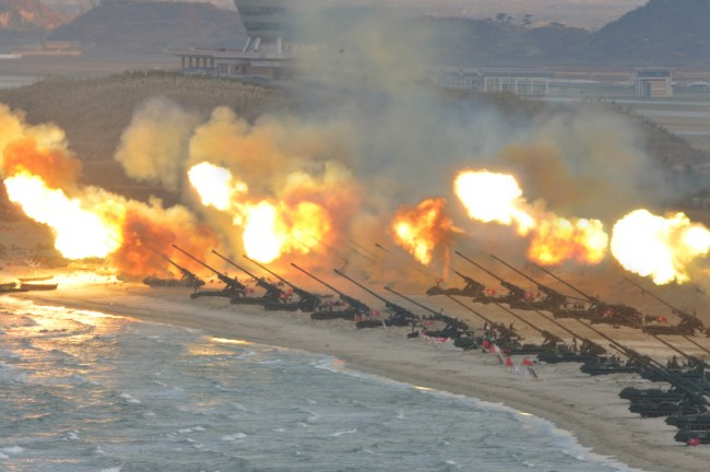 An image released by the Korean Central News Agency in March 2016 shows North Korea conducting artillery rills. Yonhap