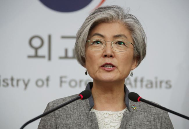 Foreign Minister Kang Kyung-wha speaks at a news conference in Seoul on Monday. (Yonhap)