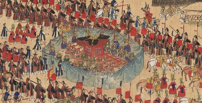 Digitally created images of the Joseon-era painting depicting a royal parade during King Jeongjo's reign. (Google)