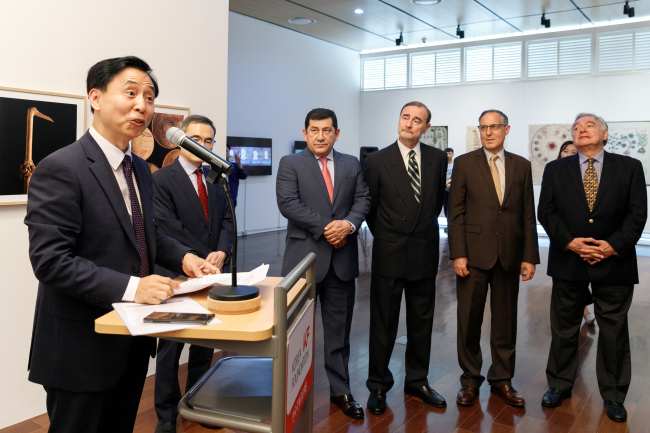 Ambassadors of the Pacific Alliance member states, Colombia, Chile, Peru and Mexico, pose at the opening ceremony of the