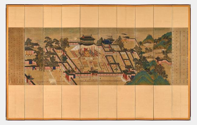 A ten-panel screen showing the celebration of a crown prince's birth. (National Palace Museum of Korea)