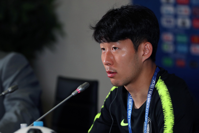 South Korea national football team forward Son Heung-min speaks at a press conference at Kazan Arena in Kazan, Russia, on June 26, 2018, one day ahead of the Group F match between South Korea and Germany. (Yonhap)