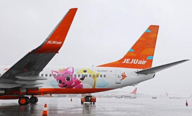 PINKFONG ON FLIGHT -- Korean children's content producer SmartStudy unveils a Jeju Air plane decorated with its character Pinkfong on Wednesday. The project was launched as part of a joint marketing agreement signed between Korean low-cost carrier Jeju Air and SmartStudy in April. (SmartStudy)