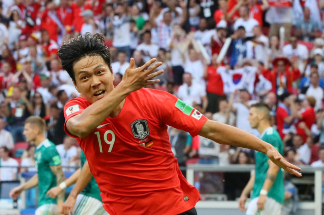 South Korea`s Kim Young-gwon celebrates after he scores a goal against Germany in their 2018 FIFA World Cup Group F match at Kazan Arena in Kazan, Russia, on June 27, 2018. (Yonhap)