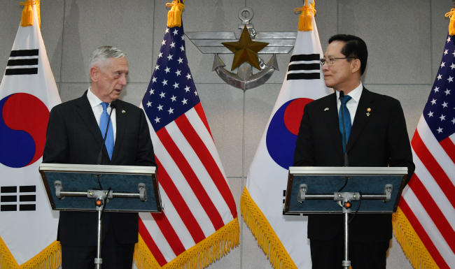 Defense Minister Song Yong-moo(right) and his counterpart Jim Mattis. Yonhap