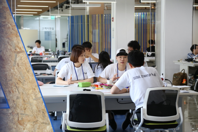 The co-working space on the first floor of Seoul Startup Hub (Seoul City)