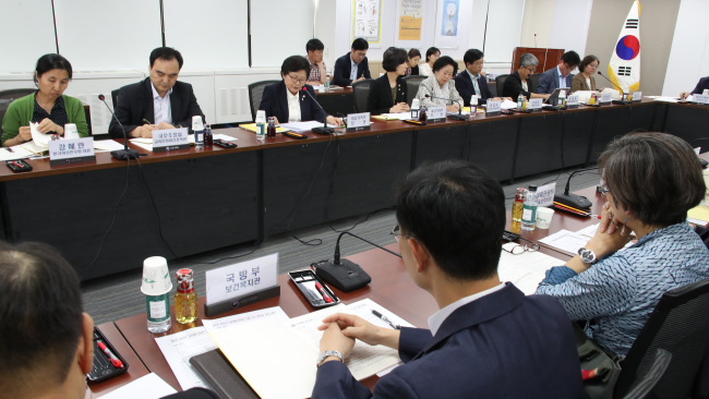 A pan-government meeting on eradicating sexual offenses, hosted by the Ministry of Gender Equality and Family, is held at Seoul Government Complex on June 15. (Yonhap)