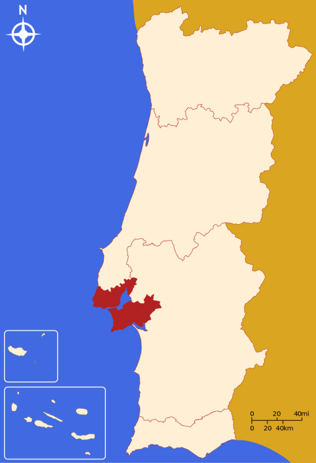 A map of Lisbon Metropolitan Area (in red) (Wikipedia)