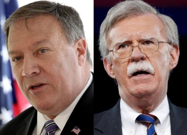 US Secretary of State Mike Pompeo, left, and National Security Adviser John Bolton (Reuters)