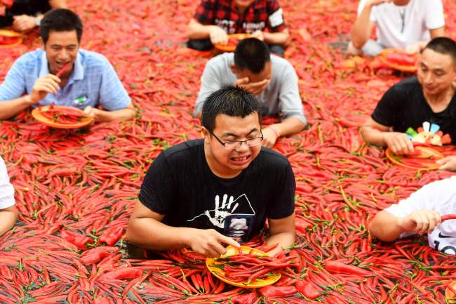 A chilli pepper-eating competition in Ningxiang in China's central Hunan province. (AFP-Yonhap)