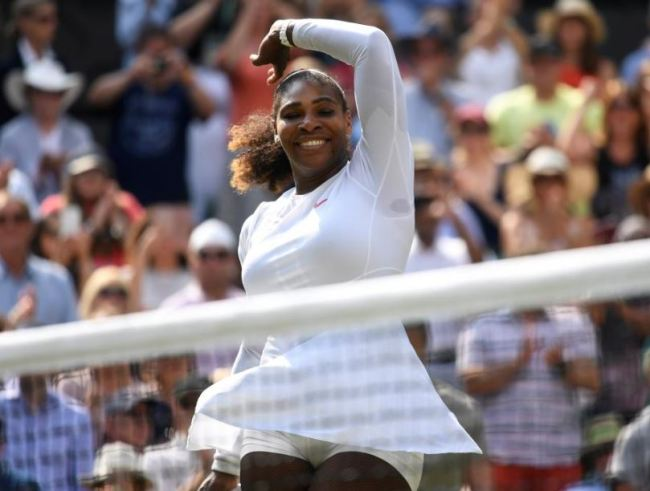 Serena Williams of the US celebrates winning her semi final match against Germany's Julia Goerges. (Reuters)