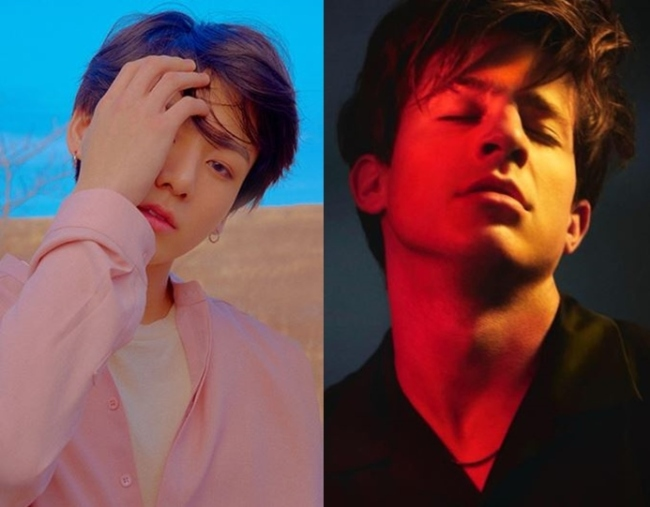 Jungkook of BTS (left, Big Hit Entertainment), Charlie Puth (right, Charlie Puth official website)