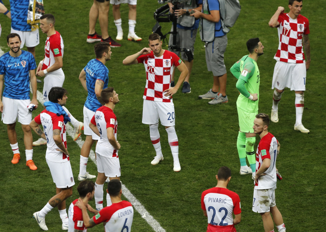 Croatian players after the final match between France and Croatia at the 2018 soccer World Cup in the Luzhniki Stadium in Moscow, Sunday, July 15, 2018. (AP)