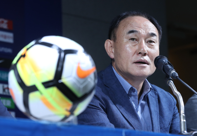 South Korea's under-23 football coach Kim Hak-bum speaks at a press conference at the Korea Football Association House in Seoul on July 16. (Yonhap)