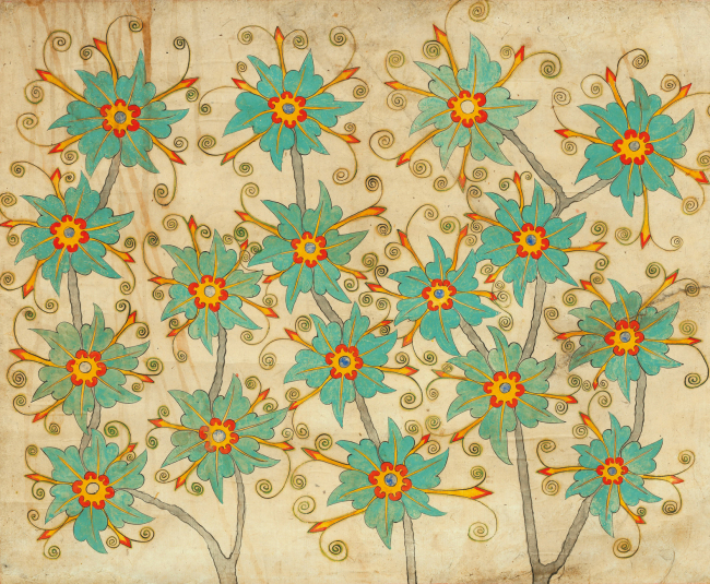 "One of the four ""Flowers"" paintings drawn on paper scrolls (Gallery Hyundai)"