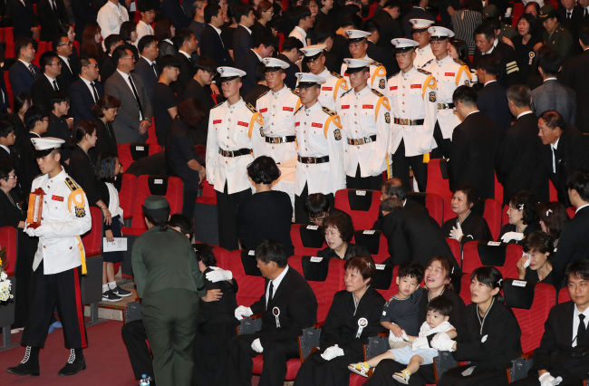 The Marine Corps holds a funeral service for the deceased Marines of the Surion helicopter crash in Pohang, North Gyeongsang Province, Monday. (Yonhap)
