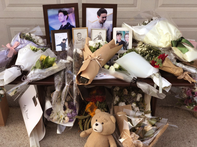 A memorial is set up for the late Denis Ten at the Kazakhstani Embassy in Seoul on Saturday. (Baur Dautov)