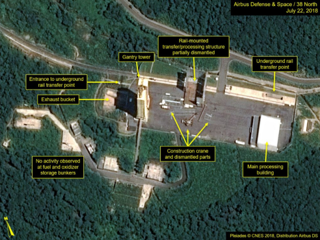 This July 22, 2018, satellite image released and annotated by 38 North on Monday, July 23, shows what the US research group says is the partial dismantling of the rail-mounted transfer structure, at center, at the Sohae launch site in North Korea. 38 North said North Korea has started dismantling key facilities at its main satellite launch site in what appears to be a step toward fulfilling a commitment made by leader Kim Jong Un at his summit with President Donald Trump in June. (Yonhap-38 North)