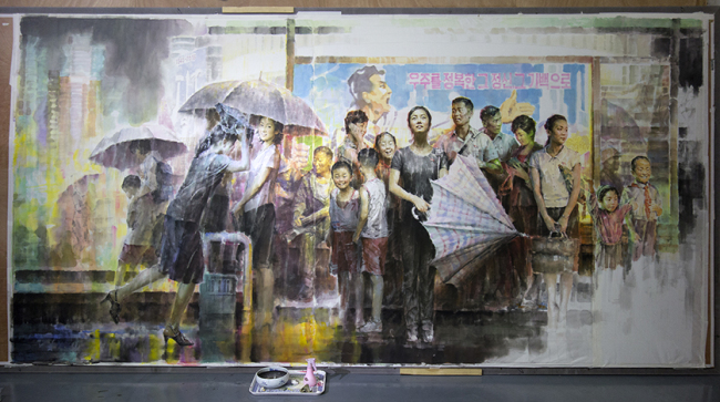 "North Korean artist Kim In-sok's 2018 work ""Rain Shower at the Bus"" (Gwangju Biennale Foundation)"